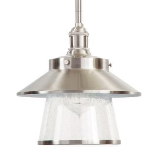 "Stockton 9"" Wide Single Light Mini Pendant with Industrial Style Shade and Seedy Glass"