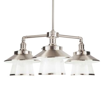"Stockton 26"" Wide 3 Light Single Pendant with Industrial Style Shades and Seedy Glass"