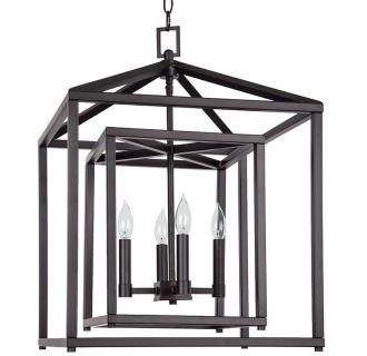 "17"" Wide 4 Light Single Tier Candle Style Chandelier with Lantern Style Shade"