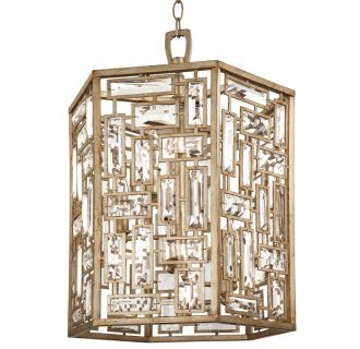 "Hand Applied Antique Silver Leaf Afton 16"" Wide 5 Light Foyer Pendant with Metal and Glass Accents"