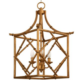 "20"" Wide 3 Light Foyer Pendant with Bamboo Style Frame"