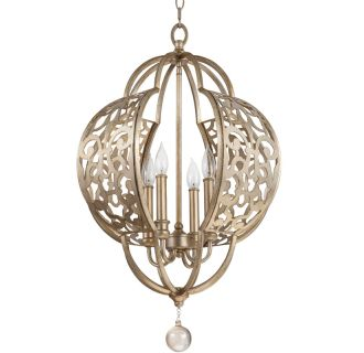 "19"" Wide 4 Light Foyer Pendant with Ornate Patterned Metal Frame"