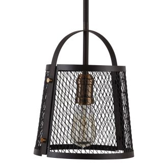 """9"""" Wide Single Light Mini Pendant with Rustic Cage Frame"""