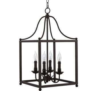 "14"" Wide 4 Light Foyer Pendant with Lantern Style Cage Frame"