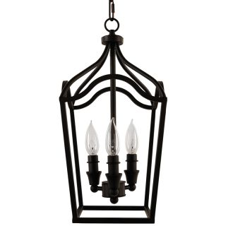 "Textured Black 3 Light 9"" Wide Mini Foyer Pendant with Lantern Cage Style Frame"