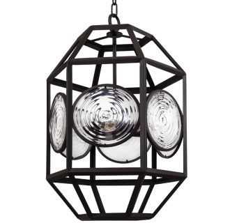 """18"""" Wide 6 Light Single Foyer Pendant with Cage Frame and Glass Accents"""
