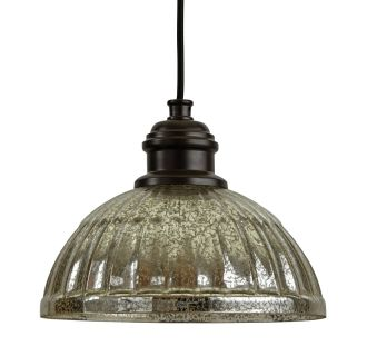 "10"" Wide Single Light Mini Pendant with Ribbed Glass Dome Shade"