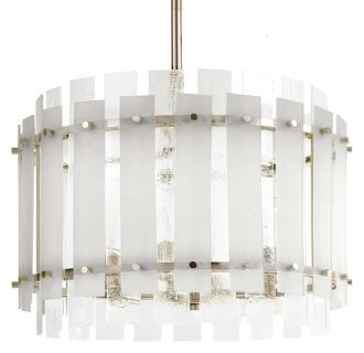 "Brushed Nickel Sea Glass 9"" Wide Single Light Mini Pendant with Frosted Seeded Glass Panels"