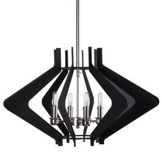 "25"" Wide 4 Light Foyer Pendant with Angled Arm Accents"