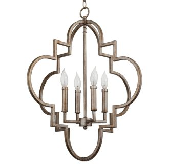 "22"" Wide 4 Light Foyer Pendant With Ornate Cage Style"