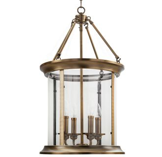 """14"""" Wide 4 Light Foyer Pendant with Lantern Style Shade"""