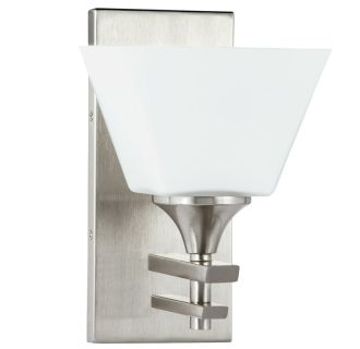 """McBryde Single Light 6-9/16"""" Wide Bathroom Sconce with Frosted Glass Shade"""