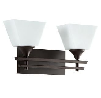 """McBryde 2 Light 17-3/16"""" Wide Bathroom Vanity Light with Frosted Glass Shades"""