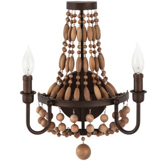 "Casa Maya 13"" Wide 2 Light Wall Sconce with Wood Bead Accents"