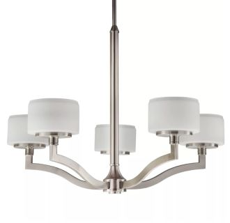 """Haverford 26"""" Wide 5 Light Single Tier Empire Style Chandelier with Etched Glass Shades"""