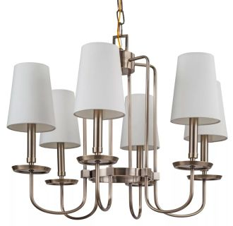 "Rich Antique Brass Fielding 25"" Wide 6 Light Single Tier Shaded Style Chandelier with Tapered Shades"