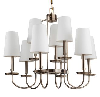 "Rich Antique Brass Fielding 29"" Wide 9 Light 2 Tier Shaded Style Chandelier with Tapered Shades"