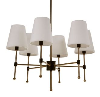 "Beatty 26"" Wide 6 Light Single Tier Empire Style Chandelier with Tapered Shades"