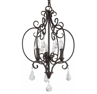 "Jefferson Commons 14"" Wide 3 Light Single Tier Cage Style Chandelier with Glass Accent Drops"