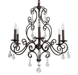 """Jefferson Commons 25"""" Wide 6 Light Single Tier Empire Style Chandelier with Glass Accent Drops"""