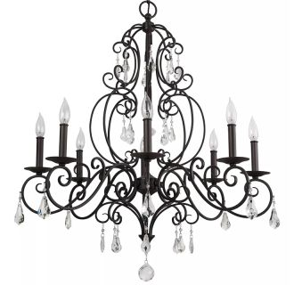 "Jefferson Commons 32"" Wide 8 Light Single Tier Empire Style Chandelier with Glass Accent Drops"