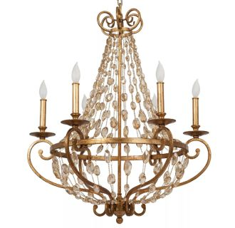 "Rosalind 26"" Wide 6 Light Single Tier Empire Style Chandelier with Strung Glass Accents"