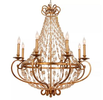 "Rosalind 31"" 8 Light Single Tier Empire Style Chandelier with Strung Glass Accents"