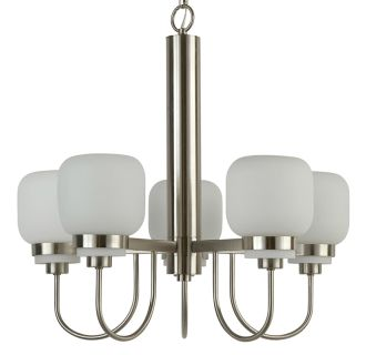 "Calloway 24"" Wide 5 Light Single Tier Empire Style Chandelier with Etched Glass Shades"