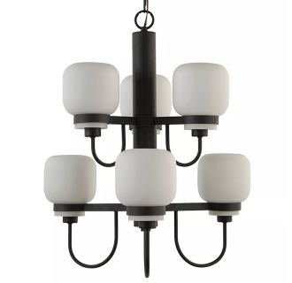 "Calloway 24"" Wide 6 Light 2 Tier Empire Style Chandelier with Etched Glass Shades"