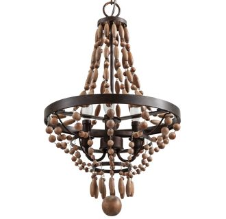 """Casa Maya 14"""" Wide 3 Light Single Tier Empire Style Chandelier with Wood Bead Accents"""