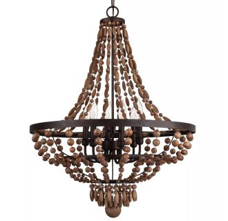 """Casa Maya 25"""" Wide 6 Light Single Tier Empire Style Chandelier with Wood Bead Accents"""