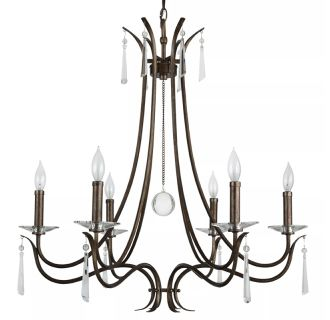 "28"" Wide 6 Light Single Tier Candle Style Chandelier with Crystal Accents"