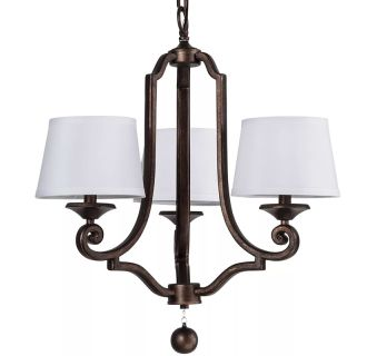 "Haven 23"" Wide 3 Light Chandelier with Tapered Fabric Shades"