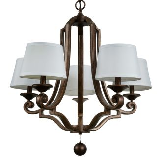 "Haven 28"" Wide 5 Light Single Tier Empire Style Chandelier with Tapered Fabric Shades"