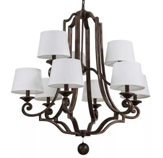"Haven 34"" Wide 9 Light Chandelier with Tapered Fabric Shades"