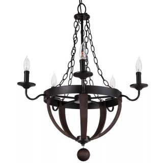 "Sandrift 25"" Wide 5 Light Single Tier Empire Style Chandelier with Iron Cage Styling"