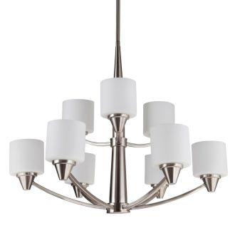 "Eastover 30"" Wide 9 Light 2 Tier Chandelier with Etched Glass Shades"