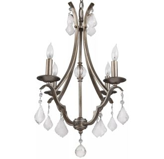 "17"" Wide 4 Light Single Tier Shaded Style Chandelier with Crystal Accents"