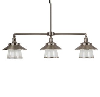 "Stockton 38"" Wide 3 Light Single Tier Linear Style Chandelier with Industrial Style Shades and Seedy Glass"