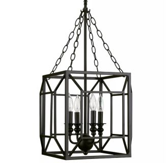 """14"""" Wide 4 Light Single Tier Candle Style Chandelier with Lantern Style Cage Frame"""