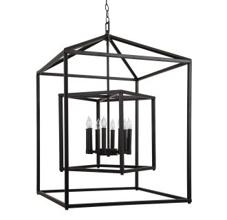 "24"" Wide 8 Light Pendant with Cage Style Frame"