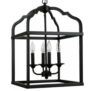 "15"" Wide 4 Light Single Tier Cage Style Chandelier with Cage Style Frame and Candle Arms"