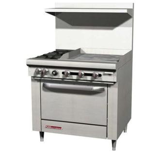 36 S-Series Gas Restaurant Range- 4 Burners, Standard Oven and 12 Griddle