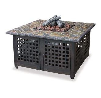 "41"" Square Liquid Propane Outdoor Fireplace with Slate Mantel"