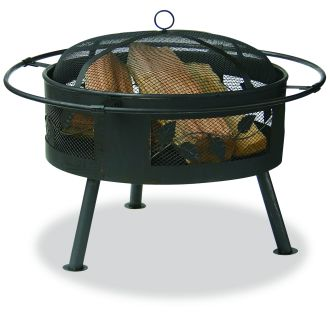 """30"""" Wide Aged Bronze Outdoor Firebowl with Leaf Design"""