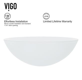 Vigo Vg07043 White Frost 16 1 2 Quot Glass Bathroom Vessel