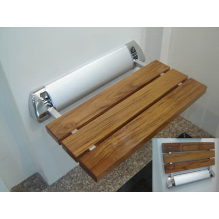Amerec 9270-029 Teak Wall Mounted Fold Down Teak Shower Seat for ...