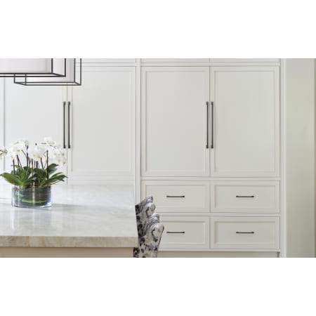 A large image of the Amerock BP54024 Amerock-BP54024-Black Bronze on White Cabinets