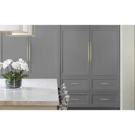 A large image of the Amerock BP54024 Amerock-BP54024-Golden Champagne on Gray Cabinets