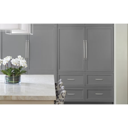 A large image of the Amerock BP54024 Amerock-BP54024-Polished Nickel on Gray Cabinets